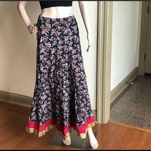 Bohemian Batik Block Print Long Maxi Skirt